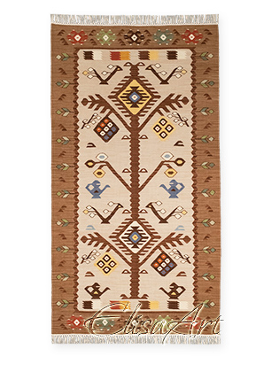 Handmade Kilim Rug: Tree with Wheels